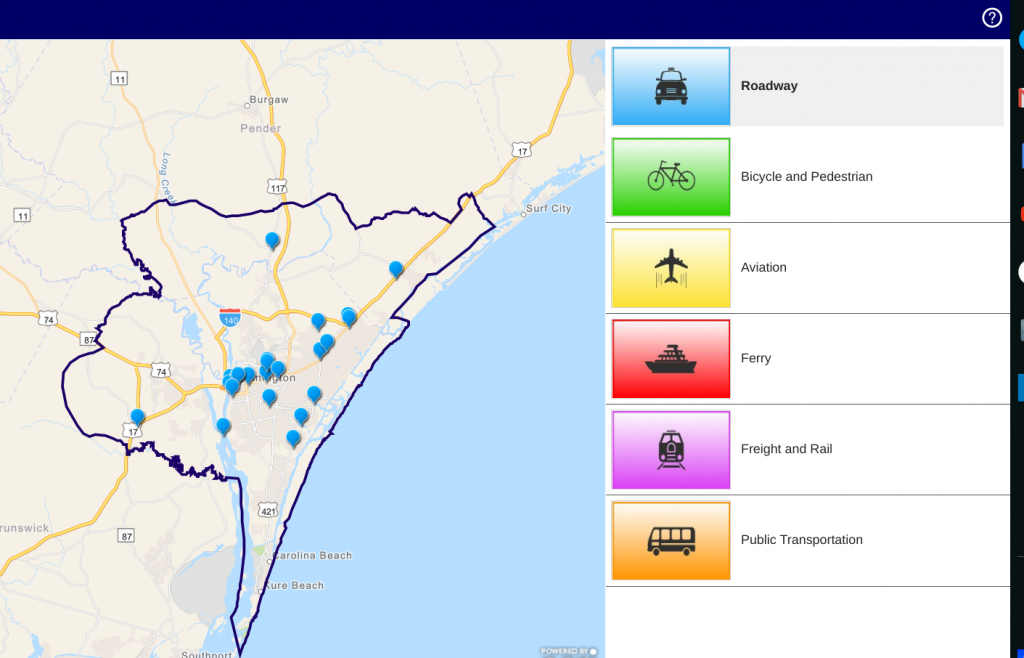 Screenshot of Public Input Map - CapeFearMovingForward2045.com